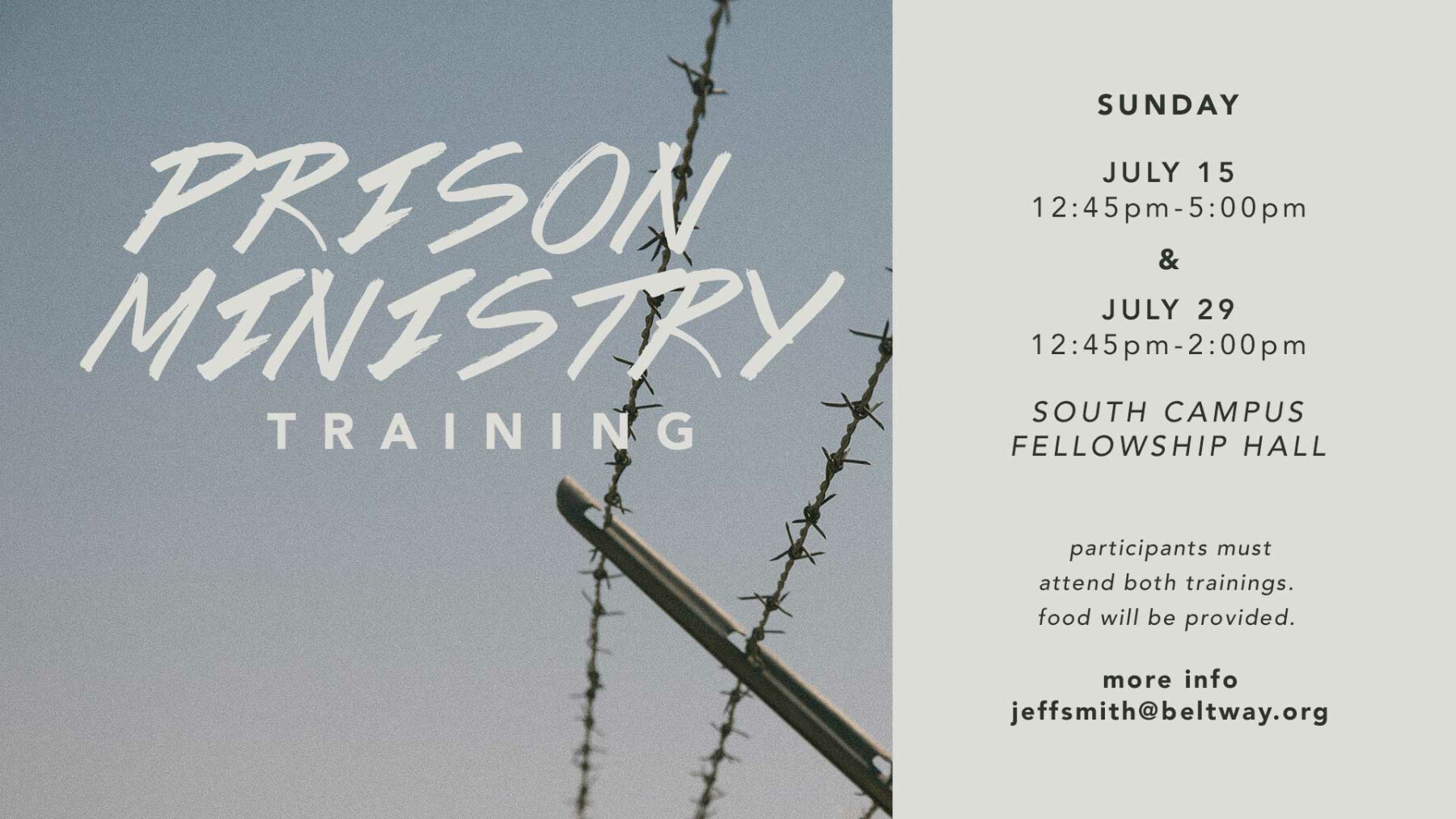 Prison Ministry Training (part 1)