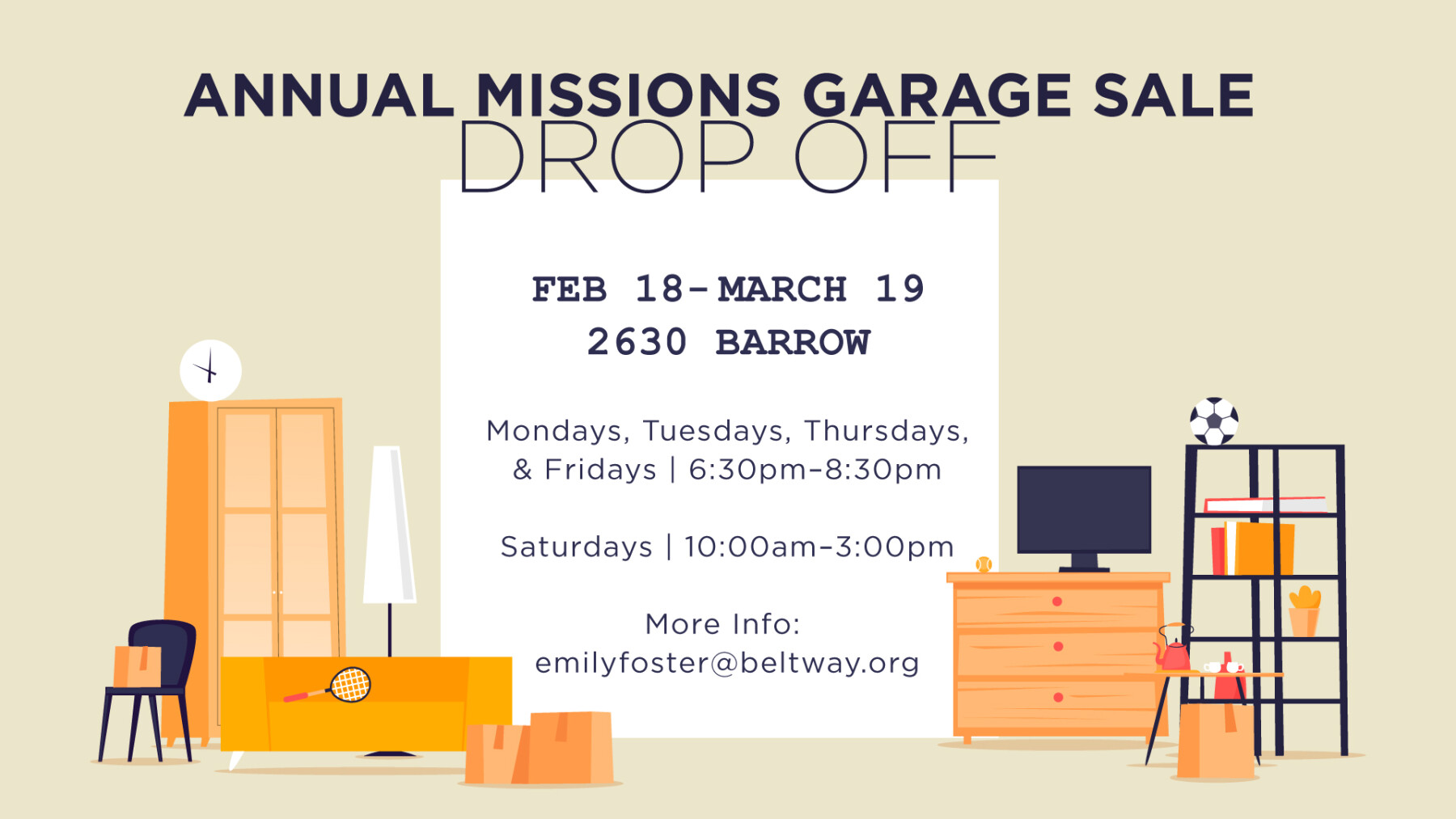 Annual Missions Garage Sale Drop Off