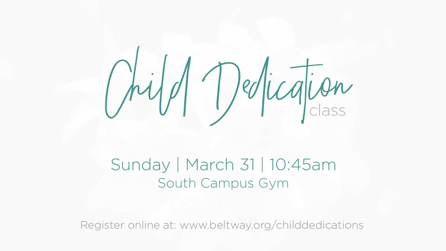 Child Dedication Class SOUTH