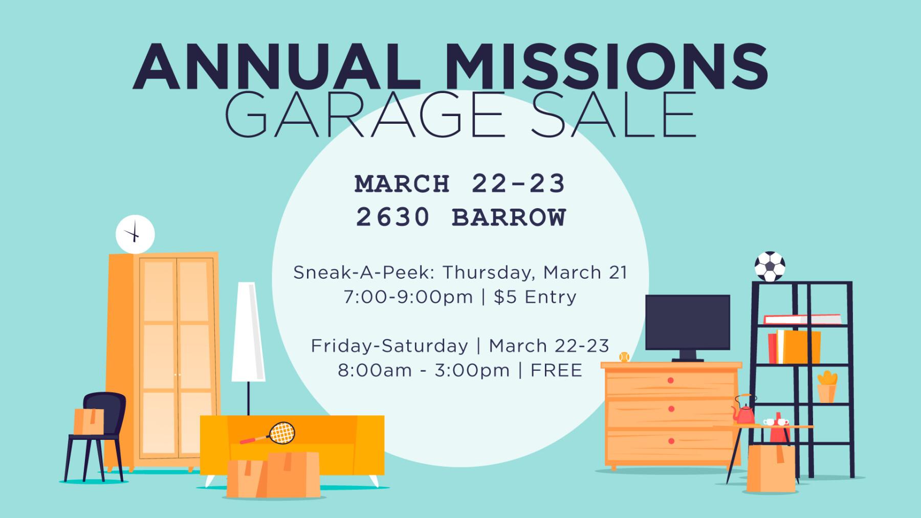 Beltway Missions Garage Sale THURSDAY